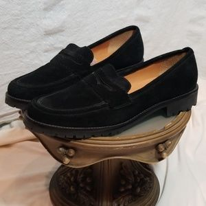 Talbots Black Genuine Suede Penny Loafers